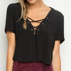 Brandy Melville lace up crop top